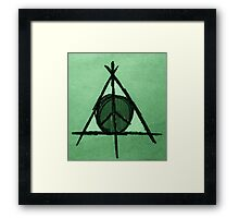 Green Tint Deathly Hallows and Peace Drawing Framed Print