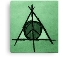 Green Tint Deathly Hallows and Peace Drawing Canvas Print