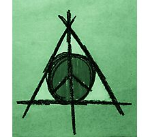 Green Tint Deathly Hallows and Peace Drawing Photographic Print