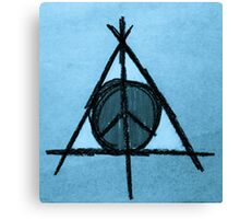 Baby Blue Tint Deathly Hallows and Peace Drawing Canvas Print
