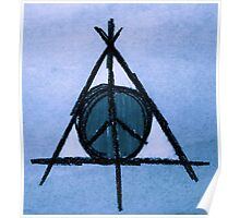 Sky Blue Deathly Hallows and Peace Drawing Poster