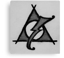 Black and White Deathly Hallows and Scar Canvas Print