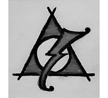 Black and White Deathly Hallows and Scar Photographic Print