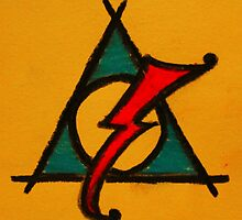 Orange, Blue and Red Deathly Hallows Scar by Amber Batten