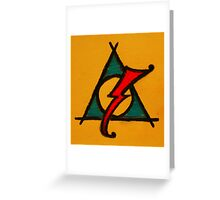 Orange, Blue and Red Deathly Hallows Scar Greeting Card