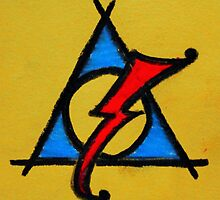 Yellow, Blue and Red Deathly Hallows Scar by Amber Batten