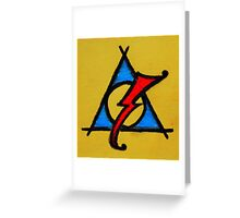 Yellow, Blue and Red Deathly Hallows Scar Greeting Card
