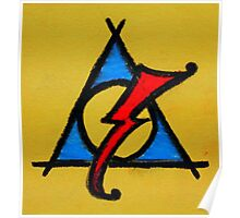 Yellow, Blue and Red Deathly Hallows Scar Poster
