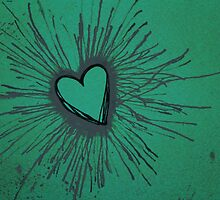 Exploding Heart Green and Gray by Amber Batten