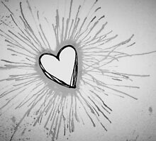 Black and White Exploding Heart by Amber Batten
