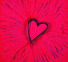 Hot Pink and Red Exploding Heart by Amber Batten
