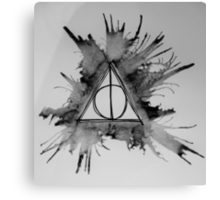 Black and White Exploding Deathly Hallows Canvas Print