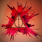 Red and Purple Exploding Deathly Hallows by Amber Batten