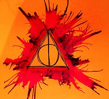 Orange, Purple and Red Exploding Deathly Hallows by Amber Batten
