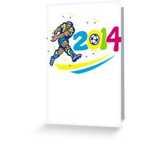 Brazil 2014 Soccer Football Player Isolated Retro Greeting Card
