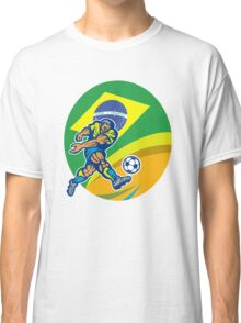 Brazil Soccer Football Player Kicking Ball Retro Classic T-Shirt