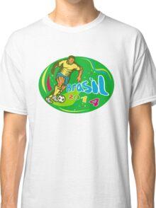 Brasil 2014 Soccer Football Player Run Retro Classic T-Shirt