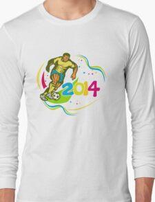 Brazil 2014 Football Player Running Ball Retro Long Sleeve T-Shirt
