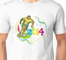Brazil 2014 Football Player Running Ball Retro Unisex T-Shirt