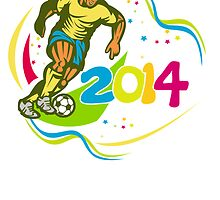 Brazil 2014 Football Player Running Ball Retro by patrimonio