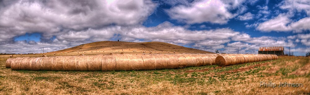 Baling Time -  Country Victoria Near Dayesford 40 Exposure Panoramic- The HDR Experience by Philip Johnson