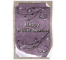 Happy Winter Solstice on Lavendar Wood Poster