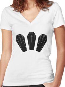 Minimalistic dies, died, will die. Women's Fitted V-Neck T-Shirt