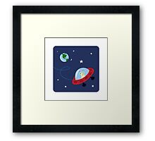 Cute alien in space with planet earth and stars, wall art for children Framed Print
