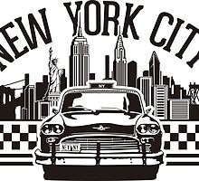 New York City Skyline and Taxi Chequer by MuralDecal
