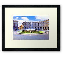 Rome, Italy - Fountain roundabout outside Piazza della Republica Framed Print