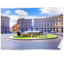 Rome, Italy - Fountain roundabout outside Piazza della Republica Poster