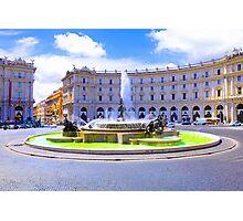 Rome, Italy - Fountain roundabout outside Piazza della Republica Photographic Print