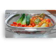 Tomato and Cucumber Harvest in Kitchen Sink Metal Print