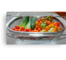 Tomato and Cucumber Harvest in Kitchen Sink Canvas Print