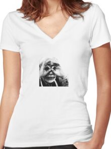 Hayao Miyazaki Women's Fitted V-Neck T-Shirt