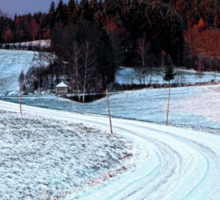 Country road through winter wonderland II | landscape photography Sticker