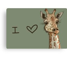 Lovely Lashes Giraffe Canvas Print