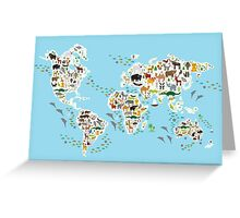 animal world map  Greeting Card