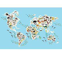 animal world map  Photographic Print