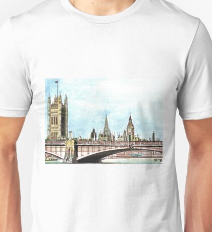 Lambeth Bridge and The Palace of Westminster. Unisex T-Shirt