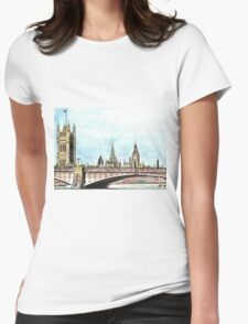 Lambeth Bridge and The Palace of Westminster. Womens Fitted T-Shirt