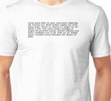 Lorem Ipsum Text Unisex T-Shirt