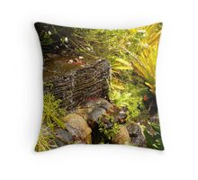 Water spills over Lava rocks Throw Pillow