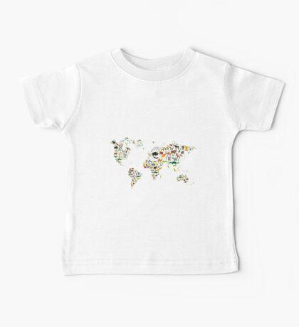 Cartoon animal world map on white background Baby Tee