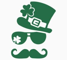 Irish mustache sunglasses Kids Tee