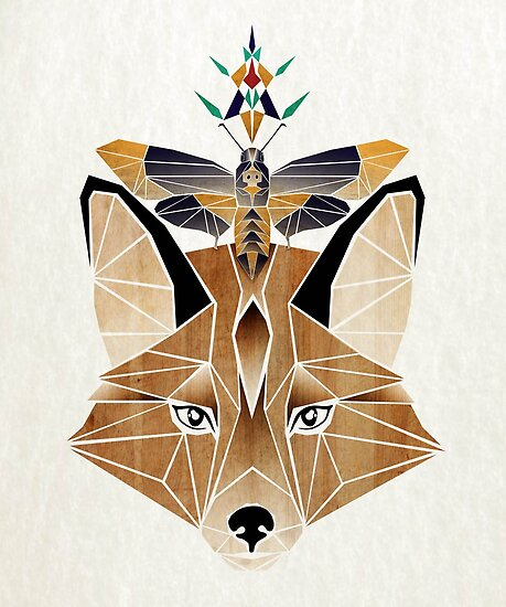 fox and butterfly by Manoou