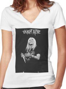 Jenna Mcdougall - Tonight Alive. Women's Fitted V-Neck T-Shirt
