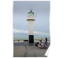 Fishing on the pier of Nieuwpoort, Belgium Poster