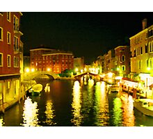Italy. Venice Night lights Photographic Print
