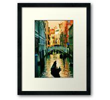 Italy. Venice lonely boatman Framed Print